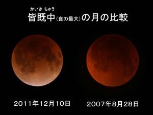 皆既中の月の比較