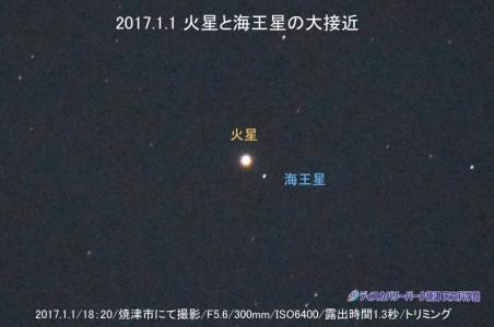 火星と海王星の大接近 (2017年1月1日)