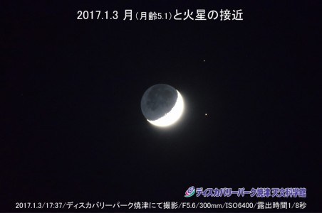 月と火星の接近 (2017年1月3日)